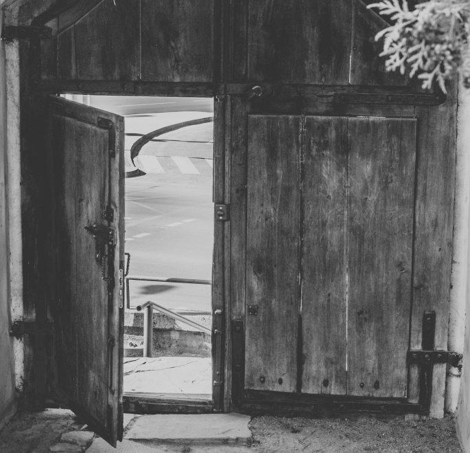 antique-black-and-white-doors-doorway-297407