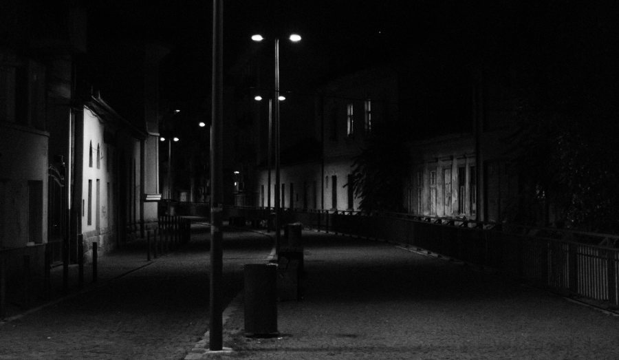 grayscale-photography-of-street-lights-along-the-road-1258333